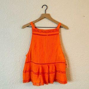 Free People Orange Lace button Back Tank